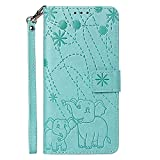vingarshern Hülle für Huawei Honor Play 8A Schutzhülle Klappbares Flip Lederhülle Magnetverschlüsse Schutztasche Etui Honor Play 8A Hülle Leder Brieftasche,Elefant-Grün MEHRWEG