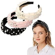 Headbands for Women 6 Pack, 3 Bee Animal Headbands and 3 Velvet Pearl Hairbands, Cute Fashion Elegant Wide headband Top Cross Knot Stripe Turban Hair Hoop Headwrap Headwear for Women Girls Hair Accessories