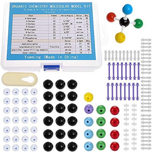 136 Pieces Organic Chemistry Model Kit, Chemistry Molecular Model Kit Set for Student or Teacher - 59 Atoms & 76 Bonds& 1 Short Link Remover Tool - Science Toys