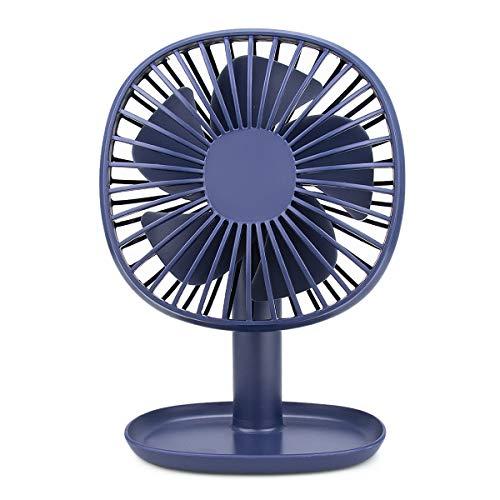 Laelr Tafelventilator, fluisterstille, draagbare persoonlijke ventilator, met 3 snelheden, tafelventilator met accu of USB-kabel, voor op kantoor of op kantoor