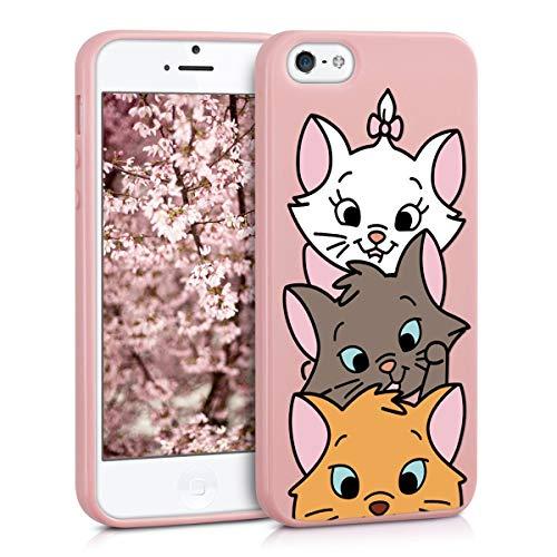 ZhuoFan Coque iPhone Se / 5s / 5, Etui en Liquide Silicone 3D Rose avec Motif Dessin Antichoc Souple TPU Housse de Protection Case Cover Bumper Coque pour Téléphone Apple iPhoneSE, 3 Chat