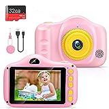 Cmara para Nios Infantil Cmara de Fotos Digital Cmara Juguete para Nios 3.5 Pulgadas 12MP 1080P HD Selfie Video Cmara Regalos Ideales para Nios Nias de 3-10 Aos con Tarjeta TF 32 GB (polvo)