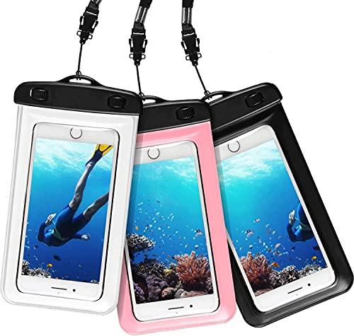 "[3 Unidades] Funda Impermeable, AROYI [3 pack] Bolsa Móvil Impermeable Universal de 4.0"" - 6.5"" Pulgada para iPhone Samsung Huawei Xiaomi HTC LG Sony Nokia Motorola - Color Negro + Transparente + Rosa"