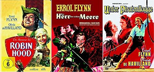Die Abenteuer des Robin Hood + Der Herr der sieben Meere + Unter Piratenflagge [Errol Flynn DVD Set]