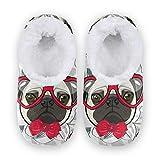 linomo Lindas zapatillas de perro Bulldog para mujer, pantuflas de casa para mujer, zapatos de casa, zapatos de dormitorio, calcetines, color Multicolor, talla 42/43 EU