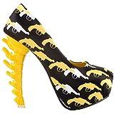 SHOW STORY New Bone High Heel Platform Bone Heels Shoes,LF80610FY38,7US,Yellow Gun