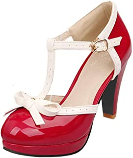 Zapatos Mujer De Tac/ón Alto Puntiagudo Primavera Verano Sandalias Fiesta Zapatos de Boda Cuero Elegante 9.5cm Plataforma De Tac/ón de Aguja Calzado Zapatos Romanos con Hebilla Gusspower