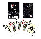 BCCEUROSHOP Baraja de Cartas POKERSTARS Negra 100% PLÁSTICO Plastic Poker Stars Cards Deck Black