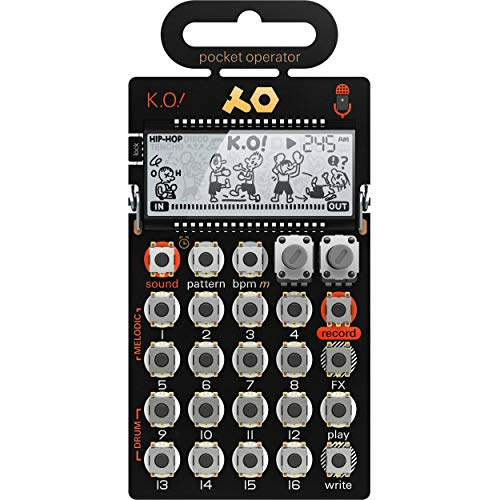 Teenage Engineering PO-33 KO Pocket Operator Synthesizer Portable Micro Sampler (Line-In, Mikrofon, Melodie- & Drum-Slots, Stepsequencer)