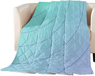 T&H XHome Luxury Quilted Comforter Bedspread-Thin Soft Cozy,Diagonal Curves Arranged Gradually Reversible Stitched Summer ...
