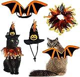 3PCS Disfraces para Gatos Halloween Ropa Alas Murciélago para Gatos Sombrero de Bruja Calabaza Sombrero Babero de Perro Calabaza para Perros Pequeños, Gatos cosplay, decoración de fiesta de Halloween
