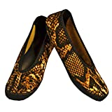 NuFoot Fuzzies Ballet Flats Women's Shoes, Foldable & Flexible Flats, Slipper Socks, Travel Slippers & Exercise Shoes, Dance Shoes, Yoga Socks, House Shoes, Indoor Slippers, Gold Snake, Small