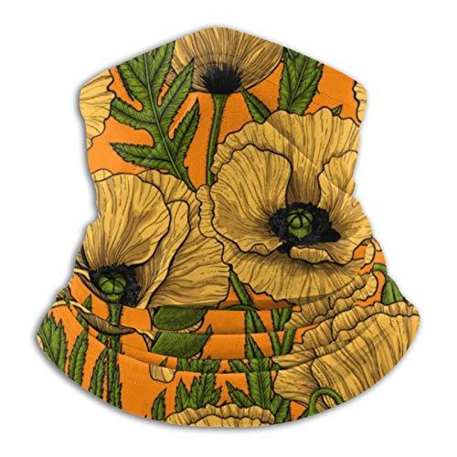 Pañuelo amarillo amapolas cuello bandana envoltura cabeza bufanda calentador de cuello pasamontañas para motocicleta, ciclismo, montar a caballo y correr