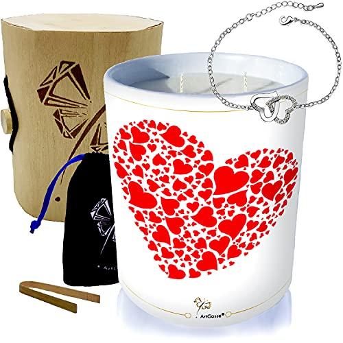 Vela con joya decorada con cristales de Swarovski® • 2 mechas de cera vegetal perfumada manzana de amor • Caja de regalo con una pulsera (pulsera de 2 corazones entrelazados)