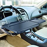 2 in 1 Car Steering Wheel Tray / Back Seat Headrest Tray for Eating Food Drink and Writing Laptop Work, XERGUR Black Car Desk
