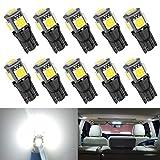 10pcs T10 194 168 Car Bulb 6000K White Light, Upgrade 5 SMD 5050 Chipset 2825 W5W 175 158 LED Light for Map Dome Door Courtesy License Plate Side Marker Light