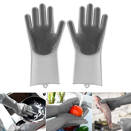 MojiDecor Gants de nettoyage en silicone, gants de vaisselle magiques résistants à la chaleur et étanches, antibactériens pour le nettoyage, la maison, la vaisselle, le toilettage des animaux de compagnie