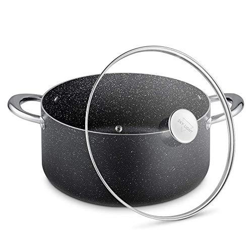 SKY LIGHT 両手鍋 26㎝ IH対応 シチュー マーブル 煮物 揚げ物 ガラス鍋蓋 ソースパン マーブルコーティング 焦げ付きにくい