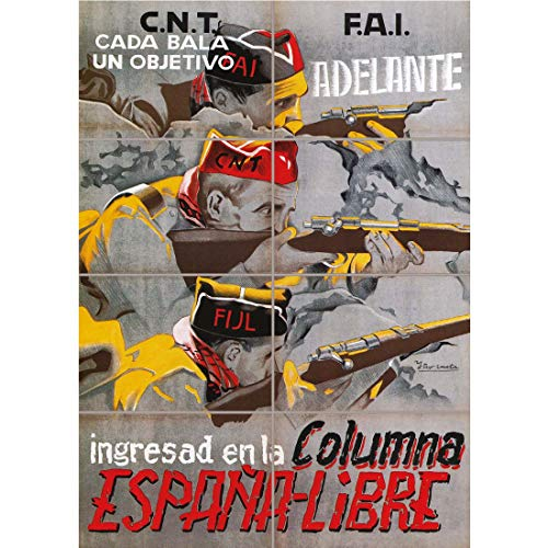 Doppelganger33 LTD War Propaganda Spanish Civil Cnt FAI Republican Spain Vintage Ad Wall Art Multi Panel Poster Print 33x47 inches