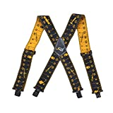 AISENIN Mens Tape Measure Suspenders , 2 Inch Wide Adjustable Work Suspenders for Tool Belts , Elastic Braces with Heavy Duty Strong Clips , Black