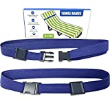 Towel Bands Chair Clips Replacement Option for Beach Towels, Pool & Cruise Chairs (Elastic Fabric with Adjustable Clasp)