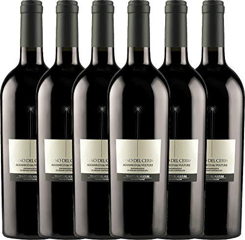 VINELLO 6er Weinpaket Rotwein - Piano del Cerro Aglianico del Vulture DOC 2018 - Vigneti del Vulture mit Weinausgießer | trockener Rotwein | italienischer Wein aus Basilikata | 6 x 0,75 Liter