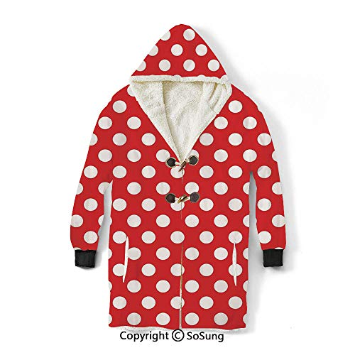 Retro Blanket Sweatshirt,50s 60s Iconic Pop Art Style Big White Polka Dots Picnic Vintage Old Theme Image Wearable Sherpa Hoodie,Warm,Soft,Cozy,XXL,for Adults Men Women Teens Friends,Red and White