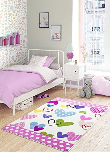 Confetti 331-01146-0086-01 Tappeto Bambino, Poliammide, Bianco Fuchsia, 100 x 150 cm