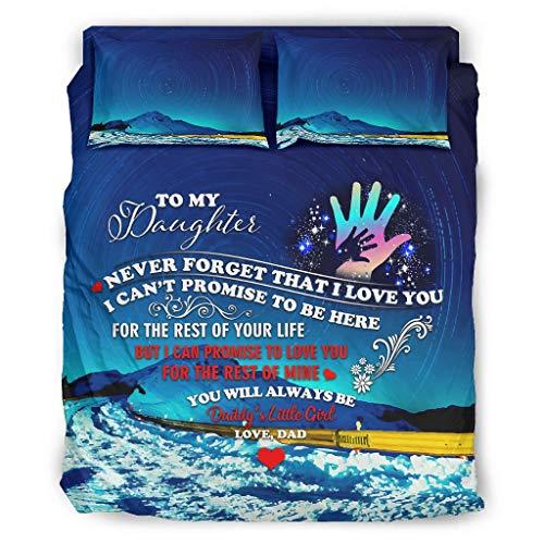 WellWellWell to My Daughter Starry - Juego de cama de 4 piezas transpirable con cremallera, incluye 1 funda de edredón y 1 funda de almohada, 228 x 264 cm, color blanco