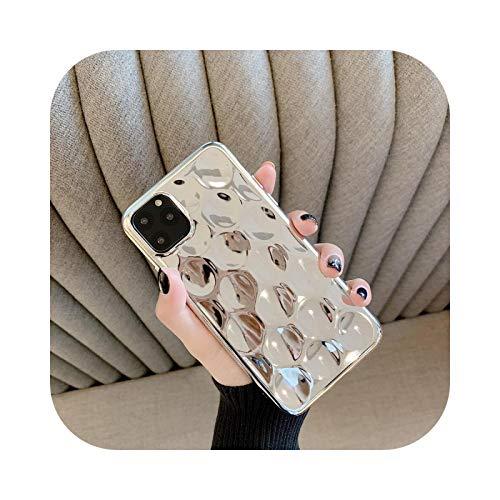 Schutzhülle für iPhone XS, stoßfest, silberfarben, glänzend, 3D Pit Plating für iPhone XS 11 Pro Max XR X 6 6S 7 8 Plus 10, Rückseitenabdeckung aus weichem Silikon