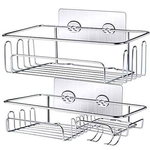 Shower Caddy Basket Shelf with Hooks, JOMARTO Bathroom Storage Rack for Hanging Razor/Shampoo Organizer No Drilling Adhesive Wall Mounted Bathroom Shelf,Rustproof SUS304 Stainless Steel-2 Pack