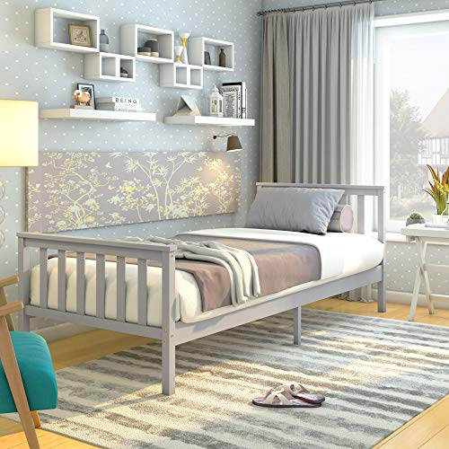 Single Bed Solid Wood Bed Frame 3ft White Wooden for Adults, Kids, Teenagers (Grey)