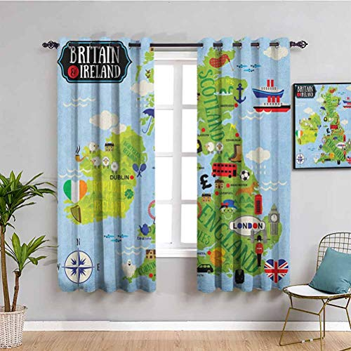 Wanderlust Black Out Window Curtain 2 Panel, Curtains 39 inch Length Cartoon Maps of Britain and Ireland Children Landmarks Illustration Cafe Curtain Pale Blue Apple Green W55 x L39 Inch