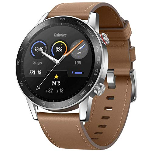 Honor MagicWatch 2 46mm Smartwatch für Herren Damen, Huawei Smart Watch Fitness Tracker Armbanduhr, Wasserdicht, GPS, 5 ATM, Android (Braun)