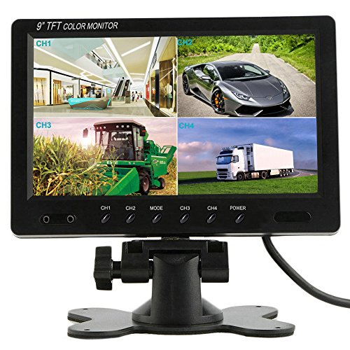 Podofo 9 inch HD 12V 24V Split Quad Monitor Car Headrest Display 4CH Video Input for Back Up Camera Truck RV & CCTV Surveillance Security System