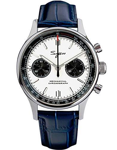 40 mm Racking Panda Schwanenhals, blaues Band, Chrono Seagull ST1901 Uhrwerk, Saphir-Kristall, Chronograph für Herren 1963 SU1901K004