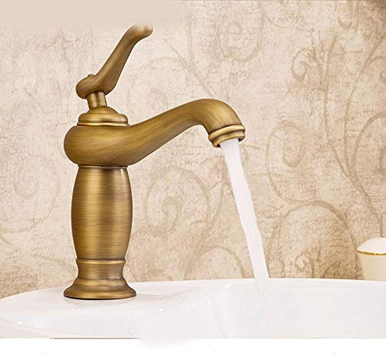 CFHJN Home Volle Kupfer Europischen Stil Retro einlochmontage kunstbecken hei und kalt doppelgriff waschbecken Wasserhahn