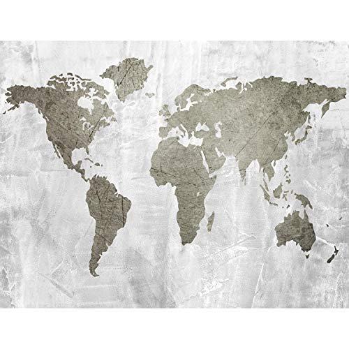Carta da parati fotografica mappa del mondo 352 x 250 cm Vello Sfondo Murale XXL Moderne Decorazione Soggiorno Camera De Letto Sala Ufficio grigio Brown 9170011b