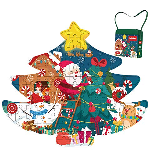 Christmas Tree Paper Puzzle 115 Piece Cardboard Puzzles for Learning Educational Jigsaw Puzzles Christmas Birthday Gift for Boy Girl