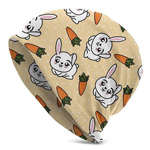 lymknumb Gorros de gorro/gorro de punto Gorro de calavera, conejitos y zanahorias Gorro de gorro unisex Gorro de calavera de invierno de adulto
