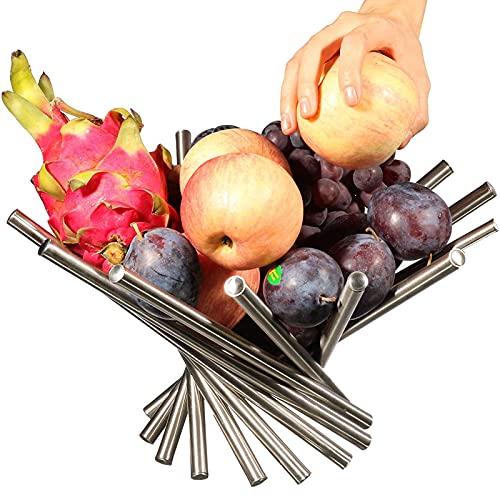 Duihk Cesto per la Frutta per Verdura,Cesto di Ferro Cavo Fruttiera in Metallo Cesto Portafrutta Moderno Espositore per Frutta in Acciaio Inoxper Mettere Frutta o Decorazioni,Argento
