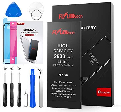 FLYLINKTECH Batteria per iPhone 6S Alta Capacità 2500mAh Batteria Interna di Ricambio in Li-ion, Strumenti di Riparazione Completi con Kit Sostituzione, Cacciavite Strumenti e Adesivo
