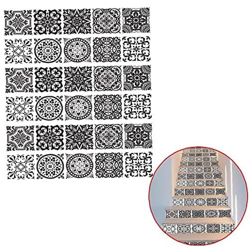 Onsinic 6 Pieza Mandala Decorativo Conjunto De Stickers, Teja Etiquetas Autoadhesivas Escalera Mural Vinilo para Paredes De Cocina Decoraciones Caseras, Pared Posterior Etiquetas 18 * 100cm
