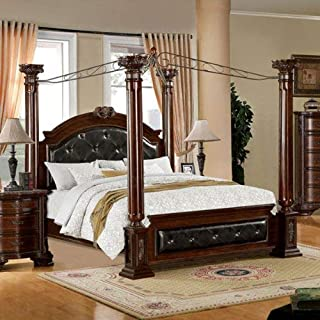 24/7 Shop at Home 247SHOPATHOME IDF-7271EK Four Poster Bed, King, Cherry