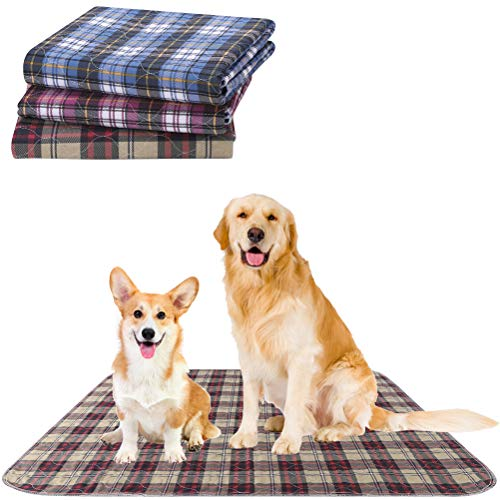KOOLTAIL Washable Pee Pads for Dogs - 3 Pack Reusable Puppy Training Pad Water Absorption Whelping Pad, Pee Pads for Guinea Pig Cage, Non-Slip Pet Food Feeding Mat for Dogs Cats