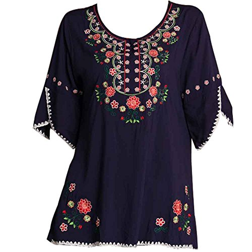 Ashir Aley Bell Sleeve Womens Girls Embroidered Peasant Tops Mexican Bohemian Blouses (XL,Navy Blue)