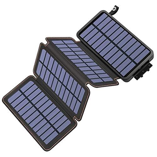 Hiluckey Caricabatterie Solare 25000mAh Impermeabile Power Bank con 4 Pannelli Portatile Batteria Esterna per iPhone, iPad, Samsung, Smartphone