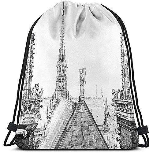 BOUIA Kordelzug-Rucksack-Taschen-Sport-Turnhallen-Gürteltasche, altes französisches Monument mit dem Wasserspeier-Alten Geschichtsthema von Hand gezeichnet