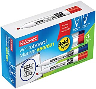 Low Odor Dry Erase Markers Chisel Tip Assorted Colors (10PK BOX), Black Blue, Green and Red, 10- Count Multi pack