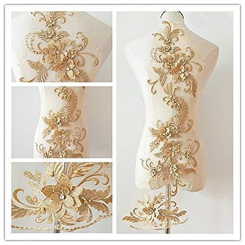 3D Applique sew on Patches Bead 3D Flowers Sequin lace Trim Applique Motif Sewing Bridal Veil Wedding Dress 3in1 20cmx72cm (Gold)